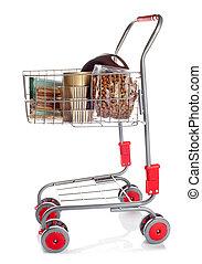 Shopping cart full of dog food on white background