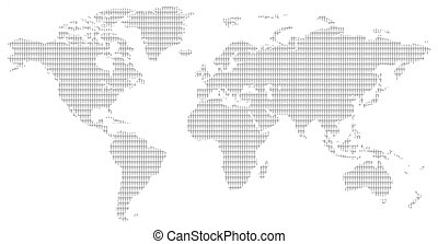 black and white men pattern world map - little men pattern...