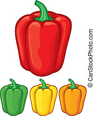 sweet bell peppers green, red, yellow and orange bell...