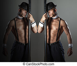 Muscular sexy man - Muscular sexy naked man dancing in the...