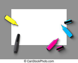 CMYK felt-tip pens - Top view of CMYK felt-tip pens on blank...