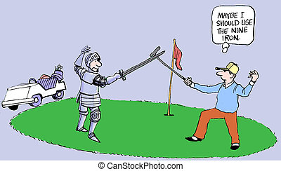 Should have used the nine iron - A golfer and a knight fight