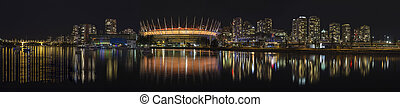 Vancouver BC City Skyline Night Scene Panorama