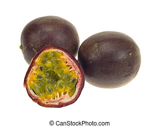 fresh passionfruit isolated on a white background