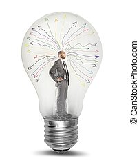 Genius - Concept of genius businessman tkinking in a light...