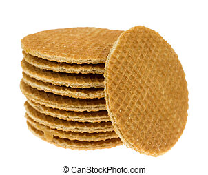 isolated stroopwafel - dutch waffle called a stroopwafel...