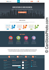 Flat Website Template - Easily editable flat style website...