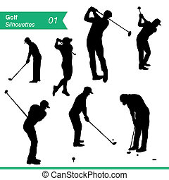 Golf Silhouettes Vector Set - Sport silhouettes Collection...