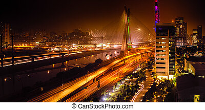 Bridge at night in Sao Paulo - Most famous bridge in the...