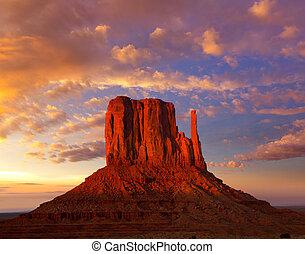 monumento, Valle, oeste, mitón, ocaso, cielo