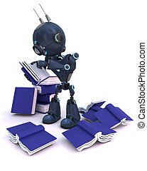Android with stack of books - 3D Render of an Android with...