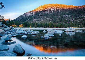 Lake Tahoe - Rocks in a lake, Lake Tahoe, Sierra Nevada,...