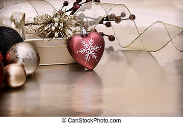 Vintage style Christmas background with a heart shaped...