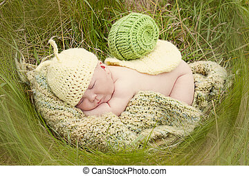 Snail baby - newborn baby dressed up like a snail for...