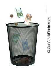 throw money away - conceptual image of trowing money away