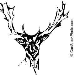 Deer with Antlers Vector Drawing