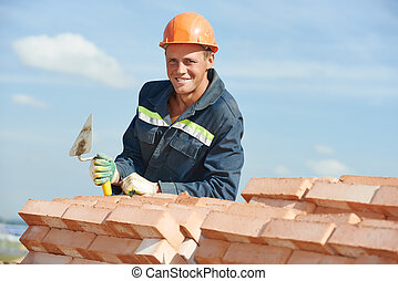 construction worker bricklayer - Portrait of construction...
