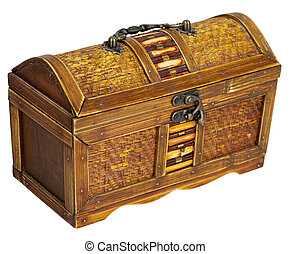 Chest - Wooden chest with iron handles on the white...