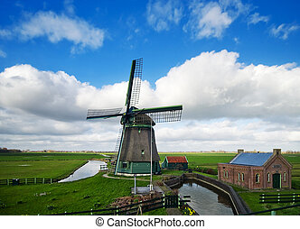 windmill landscape - beautiful windmill landscape near the...