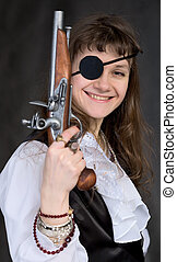 Girl - pirate with pistol in hand and eye patch