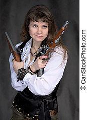 menina, -, pirata, dois, antiga, pistolas, mãos