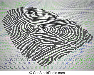 Conceptual finger print stamped atop computer code -...