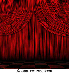 Closed red curtains - Illustration of close view of a...