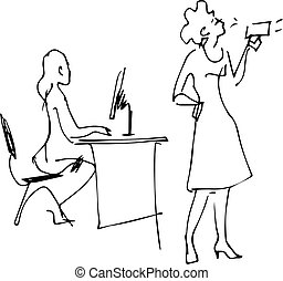 two girls in the office talking on the job