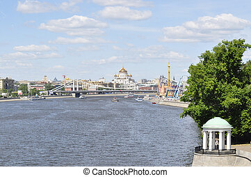 Moscow - panoramic view on the direction of the Moskva river...