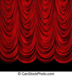 decorativo, rojo, cortinas