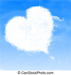 Heart shaped cloud - Heart of clouds symbol of love.