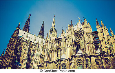 Retro look Koeln Dom - Vintage looking Koelner Dom (Cologne...