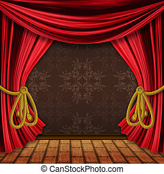 Opened red stage curtains - Opened red theater drapes,...