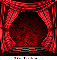 Realistic red curtains - Close view of vintage decorative...