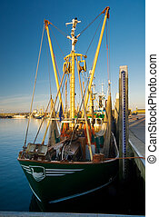 fishing boat in the evening sun