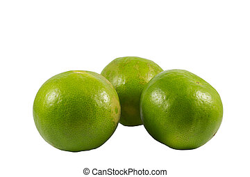 Fresh Green Lemons on white background