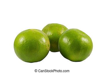 Fresh Green Lemons on white background .