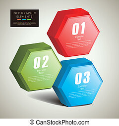 abstract 3d hexagonal columns infographics - abstract 3d...