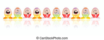lustiges, Eier, Ostern, zehn, Reihe