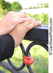 wedding hands - Hands of groom and bride with wedding rings