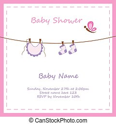 Baby Girl Invitation - Pink baby girl shower invitation