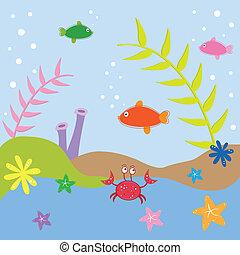 Under the Sea - Under the sea ocean fish crab