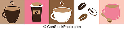 Coffee Break - Cute pink and brown coffee mugs cups