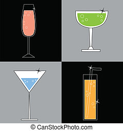 Happy Hour - Colorful fun happy hour alcoholic drinks