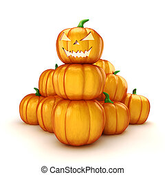 3d halloween pumpkin on white background