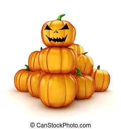 3d halloween pumpkin on white background