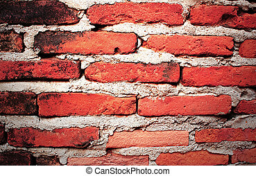 brique, rouges, mur