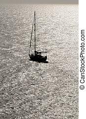 把畫成側面影像, 航行, 小船