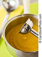 Soup with blender stick - Part of a series showing the...