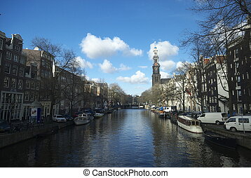 canal in amsterdam, The Netherlands